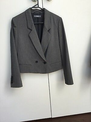 MARCS Cropped Double Breasted Charcoal Grey Blazer