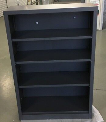 4 Shelf Steel Bookcase - Gun Metal Grey
