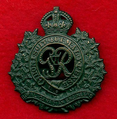 "WW2 Royal Canadian Engineers Cap Badge ""King George VI"""