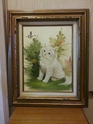 B Harris Framed 20x24 White Kitten Butterfly Signed Oil Painting