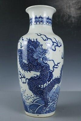 Chinese Beautiful Blue and white porcelain Dragon Vase