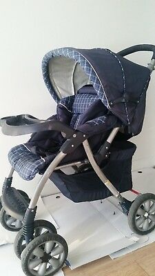 Pre-Loved Blue Reclining Back Rest Collapsible Stroller/Pram