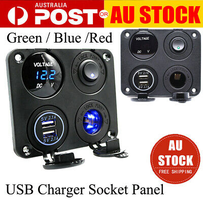 4 in 1 Dual USB Charger Socket Panel 12-24V LED Voltmeter Switch for Car Boat AU