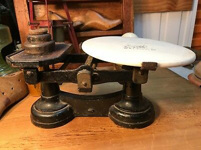 Antique English Cast Iron & Porcelain W & T Avery Cheese Pasty Shop Scales