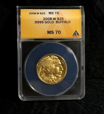2008-W Gold Buffalo SP MS70 Burnished 1/2 oz $25 ANACS American Rare Low Mintage
