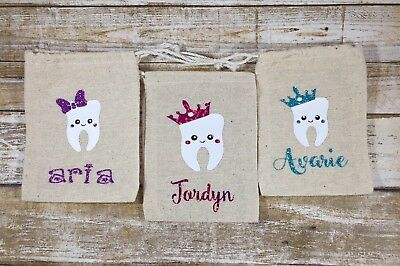 Personalized Glitter/Holographic Burlap Tooth Fairy Bags-Custom