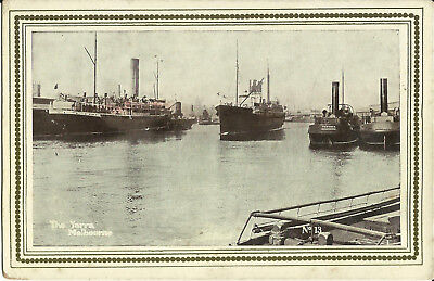 Postcard - Ships, The Yarra, Melbourne, Victoria, Australia - Early Century