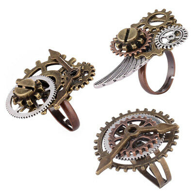Unisex Vintage Punk Gothic Adjustable Ring Steampunk Gear Pattern Handmade Rings