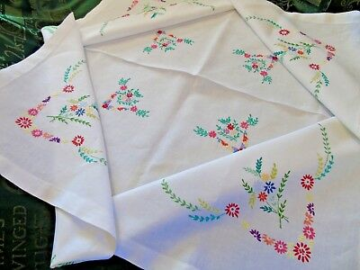 """Pretty,Vintage Linen.Hand Embroidered Tablecloth,48""""x48"""",Multicoloured Daisies,"""