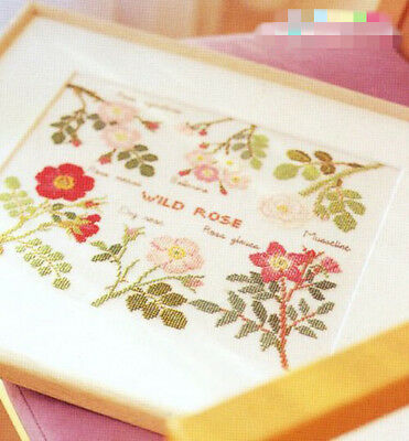 Wild roses finished cross stitch flora pattern home decor posters