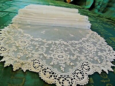 """Stunning,Antique/Vintage,Very Long Stole,Beautiful Lace Design.12.5"""" x 96"""".. GC"""