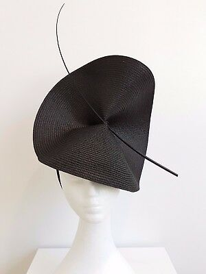 Miss Moneypenny  womens large disk headband fascinator in all Black