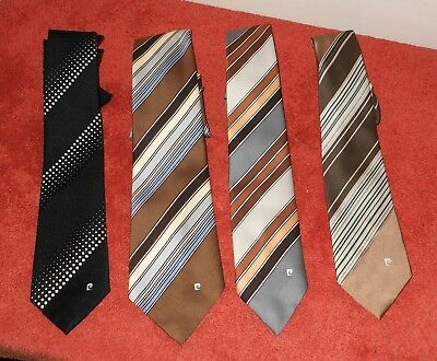 4 Vintage Retro Pierre Cardin Logo Men's Striped Ties Neckties~ 3 Skinny, 1 Wide
