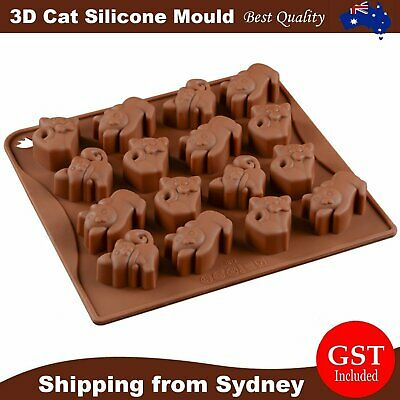 3D Cat Shape Silicone Mold Cake Chocolate Ice Cube Soap Tray Baking Mould Tool