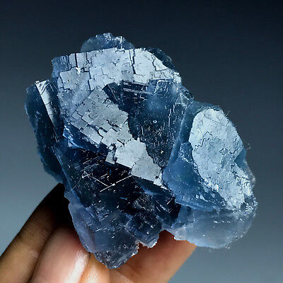 58gNewly discovered -100% Natural Rare Cube Deep Blue Fluorite Cluster-China