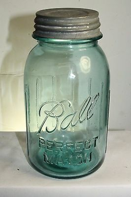 Ball Perfect Mason Aqua Ball Blue Quart Fruit Jar No Underscore 8 Ribs