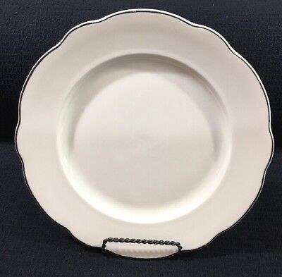 "Buffalo China Manhattan Black Stripe Scalloped Rim 10.75"" Dinner Plate USA"