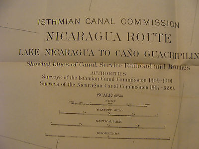 Early 1900's Original chart ISTHMIAN CANAL: Nicaragua Route plate 46