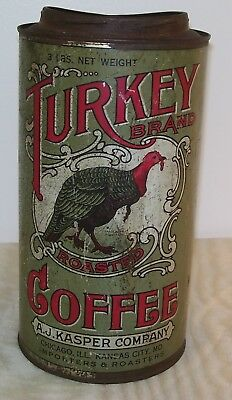 Antique Turkey Brand Roasted Coffee Tin Canister / Rare!!