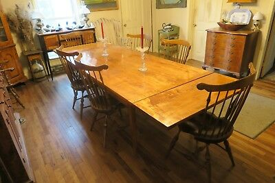 antique style tiger maple table 44 1/4 wide, X 90 L plus two 15 3/4 leaves