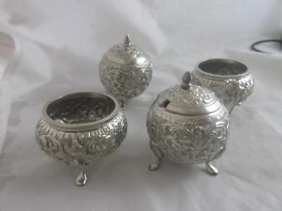 ANTIQUE  VICTORIAN STERLING SILVER ANGLO INDIAN 4 peice cruet set   j41