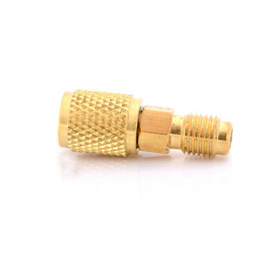 R12 R134A Brass Refrigeration Fitting Adapter 1/4'' To 1/4'' W/Valve Core FG