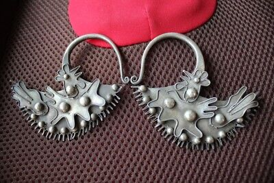 Tribal exotic chinese handmade miao silver Earrings EH14