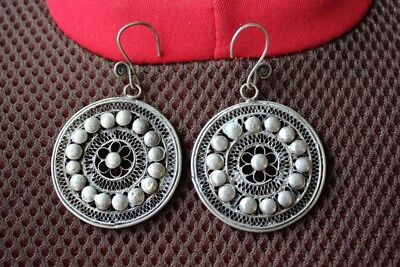 Tribal exotic chinese handmade miao silver Round type Earrings EH15