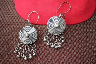 Tribal exotic chinese handmade miao silver Earrings EH17