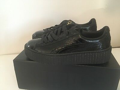size 40 f9f50 dc790 PUMA X FENTY by RIHANNA Creeper Sneakers Black Wrinkled Patent Leather Size  7