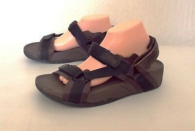 FITFLOP - MENS Brown Leather Velcro Sports Walking Hike Sandals sz 10/44 - NEW