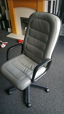 grey leather desk chair
