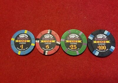 Bremerton Lanes Casino~ Bremerton, WA~ Casino Chips ~ set of 4