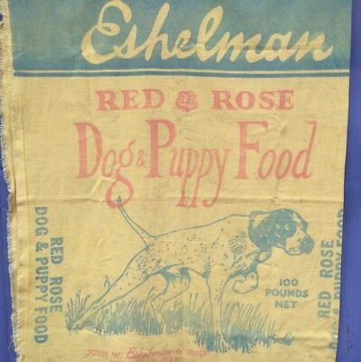 Old ESHELMAN RED ROSE DOG & PUPPY FOOD Rare Yellow Feed Sack Free Shipping