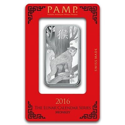1~OUNCE ~PURE .999 SILVER~ YEAR of the MONKEY ~ PAMP SUISSE ~ SEALED BAR ~$44.88