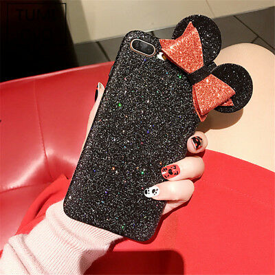 timeless design 4075c 986a9 LUXURY SHINE BLING Minnie Mouse Ear Case For iPhone 6 6s 7 8 Plus Phone  Cover
