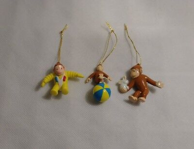 Vintage Curious George Ornament Set Of 3 - New
