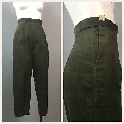 Vintage NOS 1950s Green Cotton Corduroy High Waist Tapered Ankle Pants XS