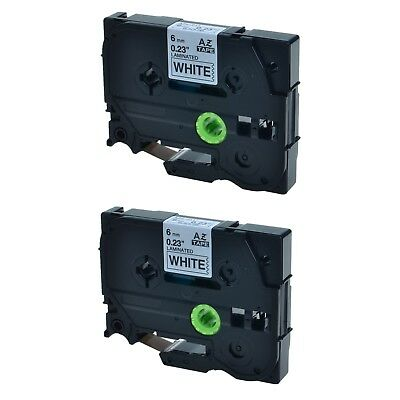 """2PK TZ 211 TZe-211 Black on White Label Tape For Brother P-Touch PT-540 1/4"""" 6mm"""