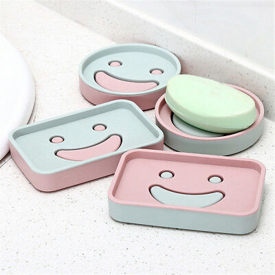 Smile Face Pattern Soap Dish Durable Bathroom Soap Holder Scented Soap Box FG