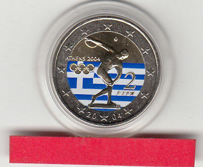 2 Euro  Griechenland 2004 Olympia coloriert