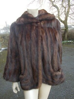 Beautiful shaded musquash/mink fur jacket with scooped pockets early 1950's