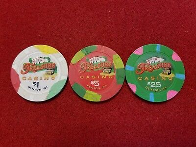 Treasure Casino ~ Renton, WA ~ Casino Chips ~ set of 3