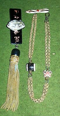 Antique Oriental Chinese Jewellery Watch  Chain And Grotesque Face With Tassel