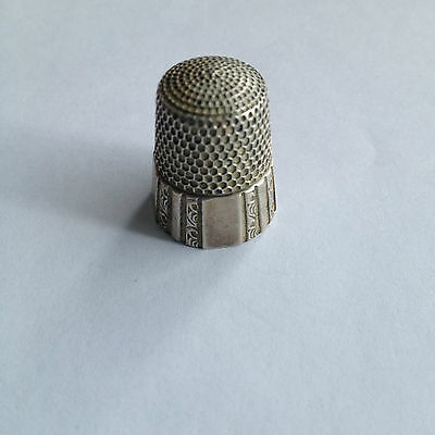 Antique Simons Bros. Sterling Silver Thimble,  Ornate Scroll Panel, Size 8