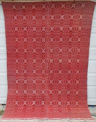 Early American Woven Coverlet Red & White, Overshot, Summer/ Winter, Two Panels