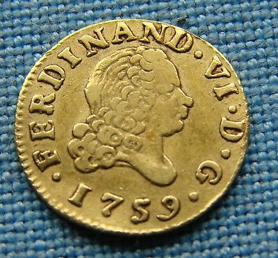 *super Looking 1759 Spanish Gold Coin 1/2 Escudo Ferdnand Vii*