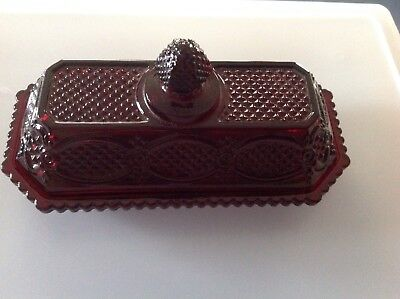 Ruby Red Cut Glass Butter Dish