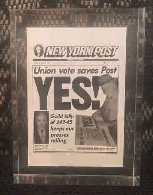 THE  Daily News - New York Post - Newspaper UNION VOTE SAVES POST -  Paperweight