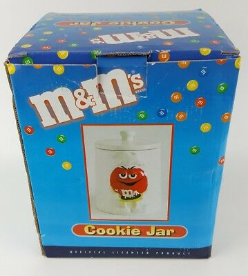 "Red M&Ms White Porcelain Cookie Jar Canister with Lid Green Chef 7.5"" MnM"